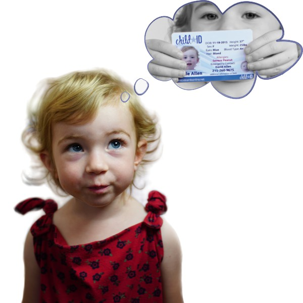Child thinking of id cards for kids