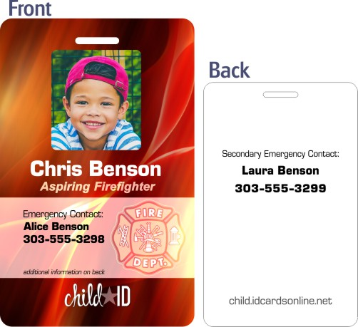 Firefighter Child ID template