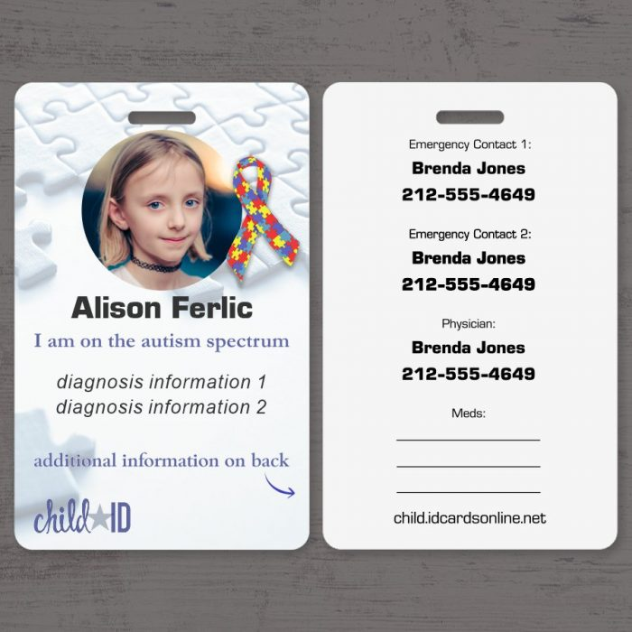 Child ID Autism front and back