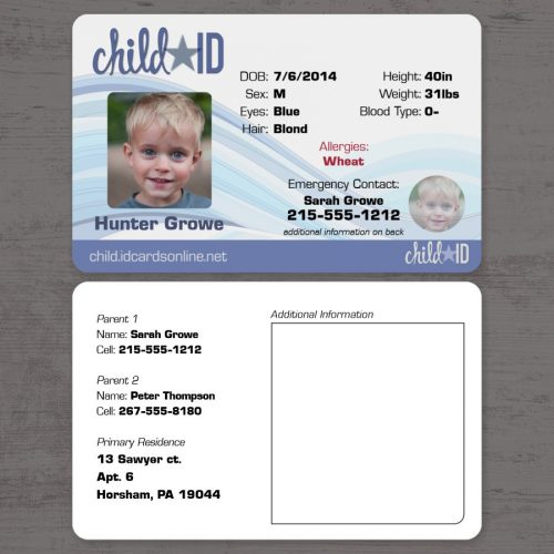 Child ID Classic Front and Back