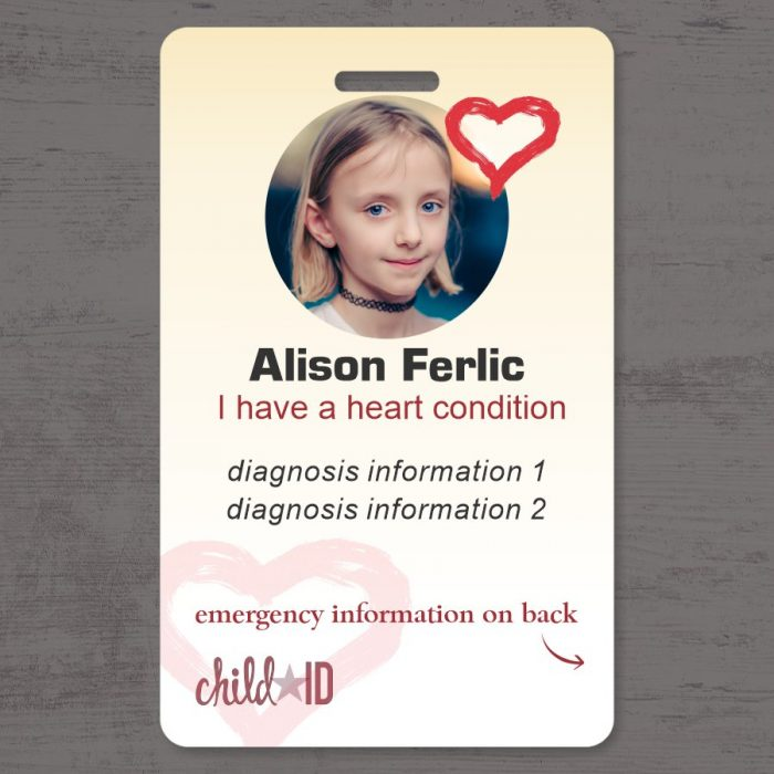 Child ID Heart front