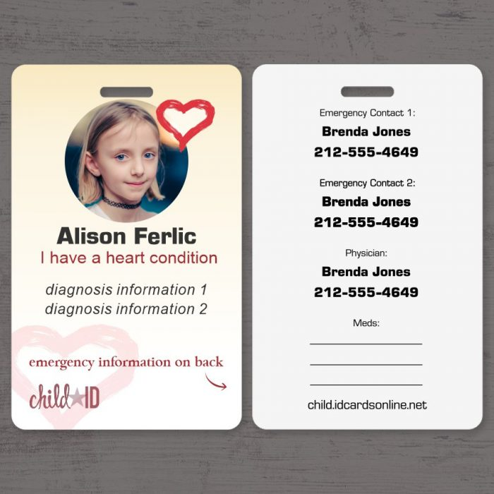 Child ID Heart front and back