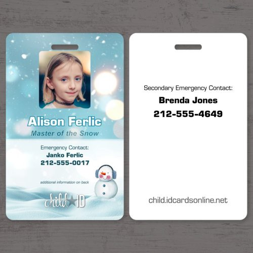 Child ID Snow front and back