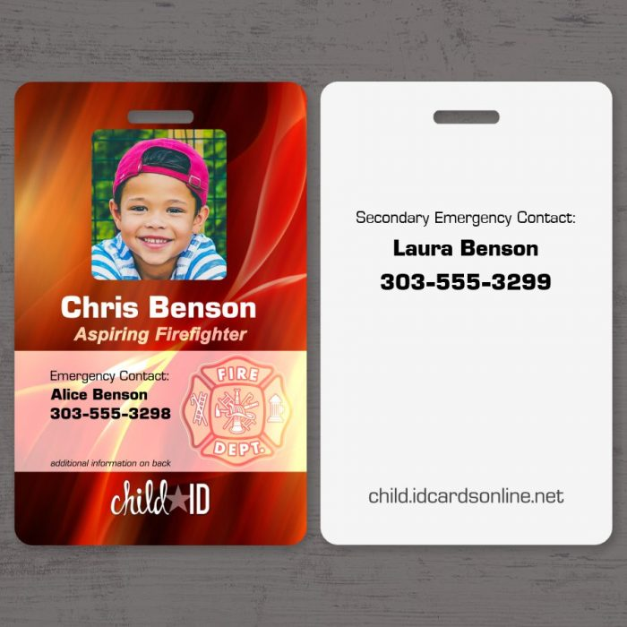 Child ID firefighter front and back