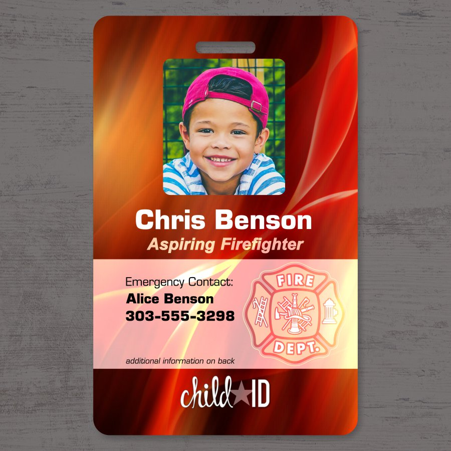 Child ID firefighter front